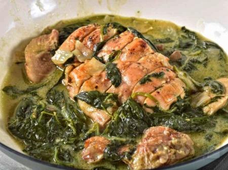Нисковъглехидратни кето пилешки гърди със спанак, гъби и крема сирене - снимка на рецептата